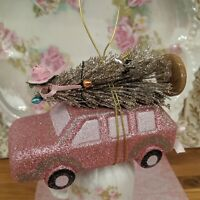 Shabby Cottage Chic Pink Car Bottle Brush Christmas Tree Ornament Bows & Roses
