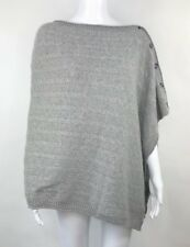 VINCE Womens OS Gray Cashmere Cable Knit Poncho Cape Shawl Wrap Side Button