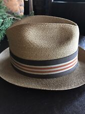 Vintage Stetson Size 7 Panama Fedora Hat Nice!! Leather and Very Fine Straw