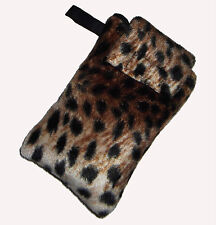 Leopard Fur Smart Phone Ipod Iphone Camera Case Holder Bag PADDED Xmas Gift