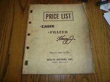 1961 Kaiser Frazer Henry J Price Effective June 19, 1961