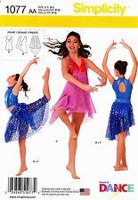 Simplicity Sewing Pattern 1077 Girls' 7-16 Dance wear Bodysuit Top Skirt Costume