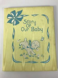Vintage NEW Baby Book Yellow Satin Shimmery Unused Excellent Condition