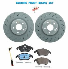 Mercedes Front Brake Cross Drilled Disc Rotors+Pads+Sensor Set GENUINE