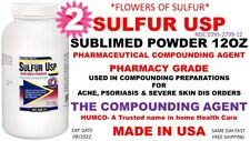 (2) Humco Sulfur Sublimed Powder USP 12 oz *Flowers of Sulfur* Exp. Date 08/2022