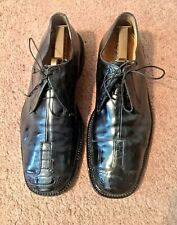 Belvedere Florence, Made In Italy,10 M, Black Oxford Shoes, Ostrich & Leather