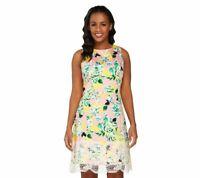 Isaac Mizrahi Women's Garden Floral Print Dress w/ Lace Detail Pink Size 24W QVC