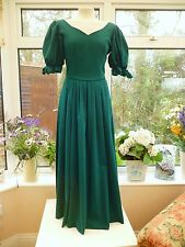 VINTAGE *LAURA ASHLEY* JADE GREEN SWEETHEART NECKLINE LITTLE BO PEEP DRESS Sz 10