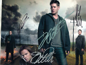 SUPERNATURAL TV SHOW STARS -=4=- ALL HAND SIGNED AUTOGRAPHED PHOTO WITH COA