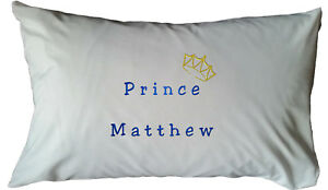 Personalised embroidered white cushion cover- gift, prince, bedroom