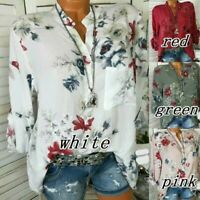 UK Summer Womens Floral Tops Blouse Ladies Long Sleeve T-Shirt Plus Size 6-20