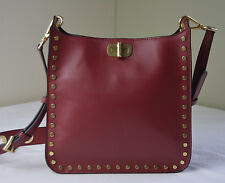 Michael Kors Cherry Red Jenkins Stud Sullivan Medium NS Crossbody Messenger
