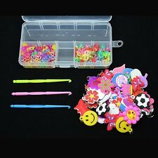 Rubber Bands DIY Charms+100 S Clips 100 C Clips+Hook+Box Case For Loom Kit Craft