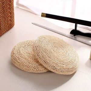 Floor Cushion Woven Chair Seat Round 16in Pouf Natural Straw Yoga Mat Sitting