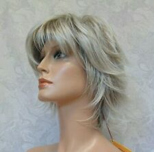 Short Light Grey / Off White Pieced out Flip Up Full Synthetic Wig - 9777
