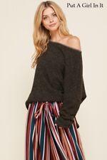 Plus Size Oversized Loose Angora Charcoal Sweatshirt Shirt Boho Usa 1X 2X 3X