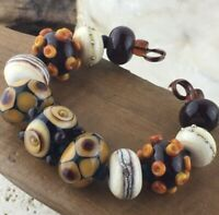 Handmade Lampwork Glass Bead Set - Topaz Ivory Brown