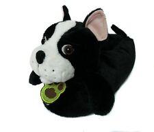Friendly House Women's Fluffy Animal Slippers Boston Terrier Dog Black