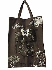NEW UNISEX AMPLIFIED SAINTS & SINNERS SKULL DESIGN GREY CANVAS TOTE SHOPPER BAG