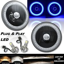 "5-3/4"" Crystal SMD Blue LED Halo Angel Eye Black Headlight & LED Light Bulb Pair"