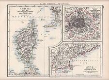 1897 victorian map ~ environs paris ~ inserts corse & riviera