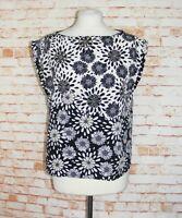 Zara tunic top/blouse size M 10 vintage 60s style daisy floral print black/white
