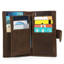 Men's Brown Leather Slim Wallet Pouch Small Credit Card Holder ID Holder