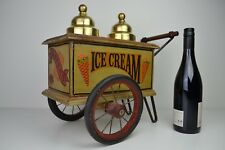 Italian Ice Cream & Wafer Push Cart Figurine Miniature Copper Lids
