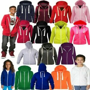 Boys Girls Kids Cotton Plain Zip Hoodie Pullover jumper Sweatshirt 3-13 Years