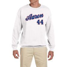 Atlanta Braves Hank Aaron Throwback Logo Crewneck Sweatshirt