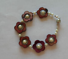 MOTHER OF PEARL WINE FLOWER BEADS AND PEARL BRACELET- HANDMADE