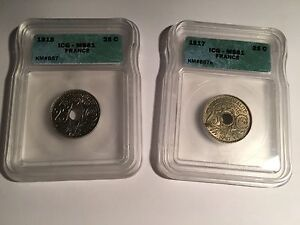 FRANCE 1915 & 1917 25 CENTIMES COINS CERTIFIED ICG UNCIRCULATED, MS-61, LOT OF 2