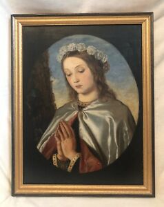 English Antique Oil Painting On Canvas, MADONNA, LONDON, 1877-1880, 27x21