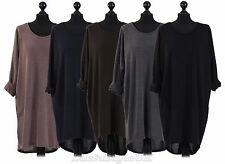 New Ladies Italian Back Button High Low Lagenlook Top Women Batwing Top Plus Siz