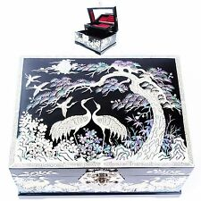 Mother of Pearl Jewelry Boxes Antique Jewelry Organizers 2 Drawers Black L35