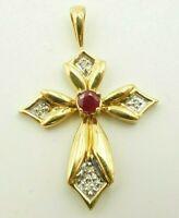 10k Yellow Gold Round Ruby And Diamond Cross Pendant