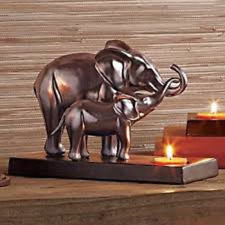 PARTYLITE Majestic Pride Tealight Holder - Elephant & Baby  FREE TEALIGHTS