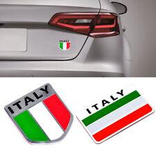 2Pcs Aluminum 3D Metal Italy Flag Car Emblem Sticker Italian Badge Decal Decor