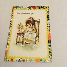 Vintage Greeting Card Get Well Patchwork Cute Girl At Desk
