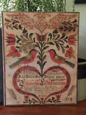 Primitive Antique Reproduction Fraktur Heart & Flowers Print on Canvas 8x10""
