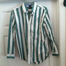 Fabulous Gap Kids Boys Long Sleeve Shirt in Size XXL (14-16)-White/Green/Blue