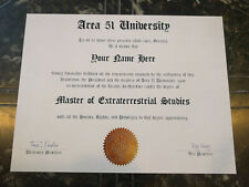 AREA 51 UNIVERSITY Diploma w/Your Name, Unique Gift, X-Files, UFO Halloween Prop