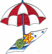 SET OF 2 -BEACH UMBRELLA & TOWEL - VACATION - TROPICAL/Iron On Embroidered Patch