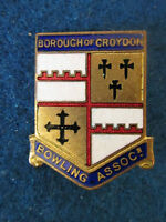 Vintage Borough of Croydon Bowling Association Enamel Badge. Made by H.W. Miller