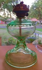 Vintage Depression Glass Kerosene Lamp Green