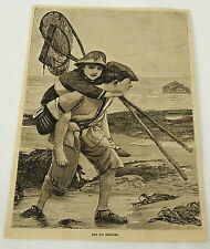 1881 magazine engraving ~BIG BROTHER gives LITTLE SISTER piggyback ride on beach