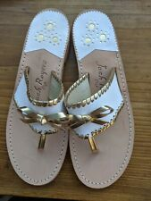 JACK ROGERS  ADELINE white gold /BOW LEATHER SANDALS Sz 7 NEW!