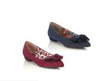 Ruby Shoo Cora Navy + Burgundy Pointed Toe Polka Dot Bow Shoes