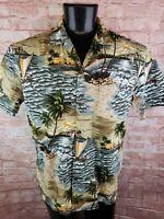 ALOHA REPUBLIC Hawaiian Island Sailboat Print Cotton Button Front Shirt Large