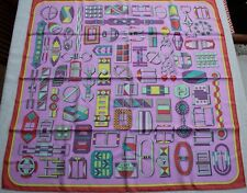 Hermes Silk Scarf 90 x 90 Carre en Boucles V Jamin Pink NEW w tags
